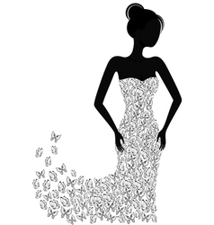 Silhouette of a girl in a flying apart dress vector image vector image