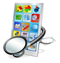 Smart phone or tablet pc health check concept vector