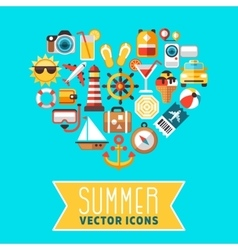 Summer concept with flat beach icons in vector image