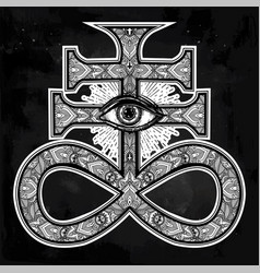 The satanic cross with evil eye demon leviathan vector
