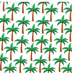 Tree palm summer pattern vector