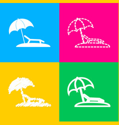 Tropical resort beach sunbed chair sign four vector