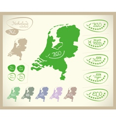 Bio map nl netherlands vector