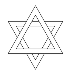 Star of david icon outline style vector
