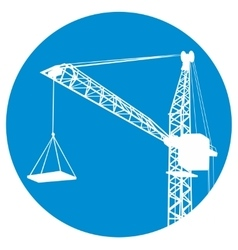 Silhouettes of crane on building vector
