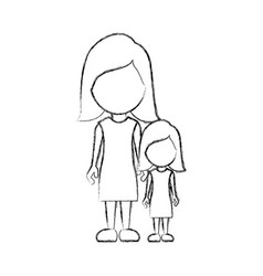 Figure woman with her daughter icon vector