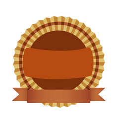 brown round emblem with ribbon icon vector image