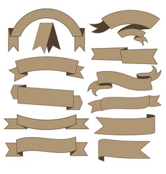 Set of cardboard ribbons vector