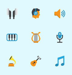 Audio flat icons set collection of pianoforte vector