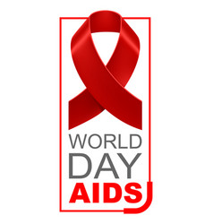 World aids day red ribbon vector