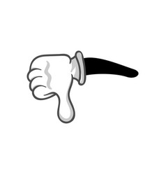 thumb down in glove gesture isolated vector image