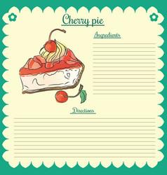 recipe cherry pie vector image