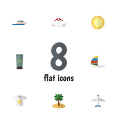 Flat icon season set of coconut recliner vector
