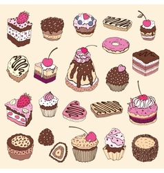 Set of cute cake vector