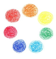Set of colored spots of wax crayons isolated on vector