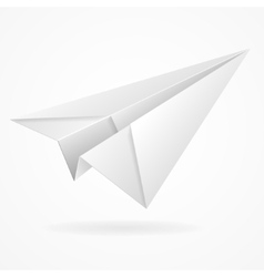 Origami paper airplane on white vector