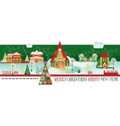 Vintage christmas banner with eve cityscape vector