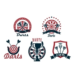 Darts game icons or symbols set vector
