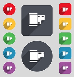 35 mm negative films icon sign a set of 12 colored vector