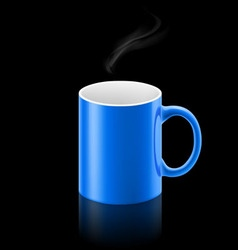 Blue mug on black background vector