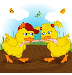 ducklings are fighting for worm vector image