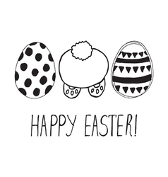 Easter greeting with eggs and bunny back vector