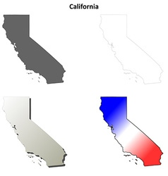 California outline map set vector