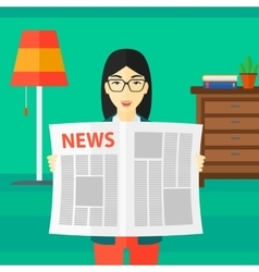 Reporter reading newspaper vector