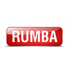 Rumba red square 3d realistic isolated web button vector