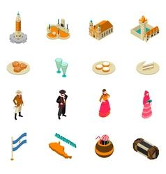 Argentine touristic isometric symbols icons vector