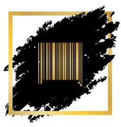 Bar code sign golden icon at black spot vector