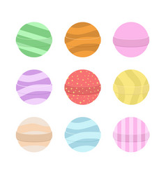 Bath bomb cartoon set nature organic soap vector