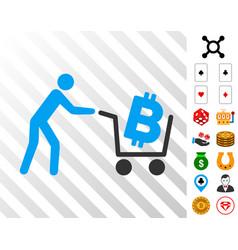 Bitcoin shopping cart icon with bonus vector