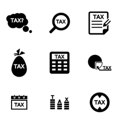 Black tax icon set vector