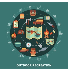 Camping flat composition vector image