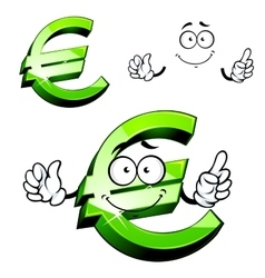 Cartoon isolated green euro sign vector image
