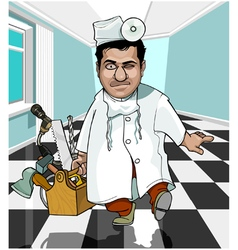 cartoon male doctor with instruments vector image