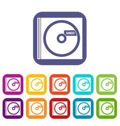 Cd with danger lettering icons set vector