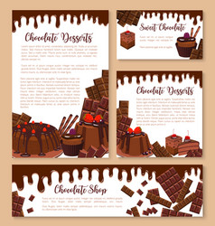 Chocolate desserts and pastry templates vector