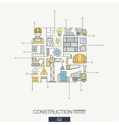 Construction integrated thin line symbols Modern vector image