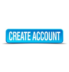 Create account blue 3d realistic square isolated vector