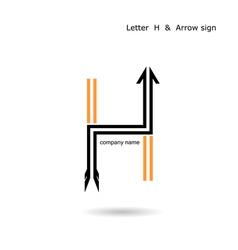 Creative letter H icon abstract logo design vector image