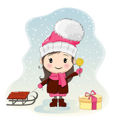 Cute little girl with sled standing near gift-box vector