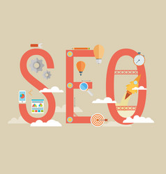 flat design modern concept of seo word combined vector image