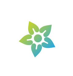 Flower and sun icon colorful logo healthy vector