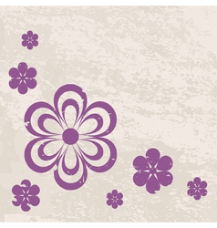 grunge violet flowers on the textured background vector image