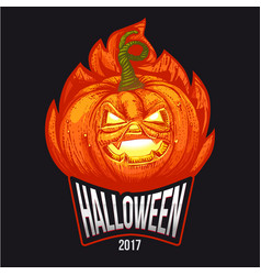 halloween logo in flames vector image vector image