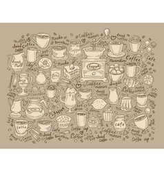 Hand drawn doodle set coffee vector image vector image