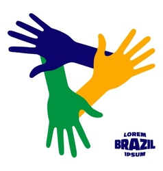 Hands icon using brazil flag colors vector
