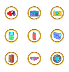 Home gadgets icons set cartoon style vector